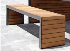 Banca exterior lemn pe cadru din profil metalic Atlas Sport