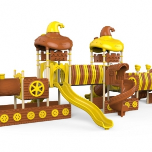 Seria trenul cu vagoane in doua culori